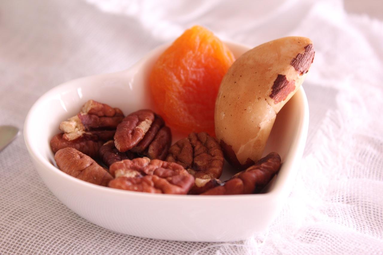 Nozes pecan, damasco e castanha-do-Pará