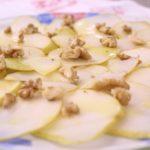 Carpaccio de peras com mostarda e nozes