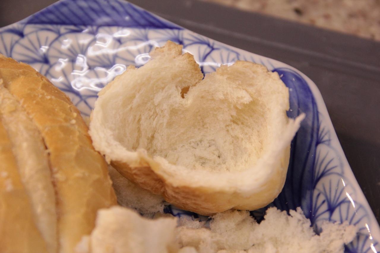 Casca do pão sem o miolo